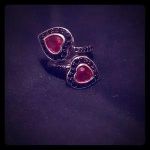 Adjustable Ruby Black Spinel Sterling Silver Ring